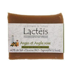 Savon pour peaux sèches au lait d'ânesse Bio, saponifié à froid, à l'argan et l'argile rose