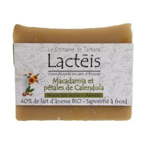 Savon pour peaux sèches au lait d'ânesse Bio au macadamia et pétales de calendula